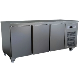 Kühltisch, belüftet, 3-türig (GN 1/1), 405 Liter, auf Rollen