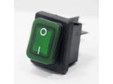 Wippschalter, grün, beleuchtet, IP65, 30 x 22 mm